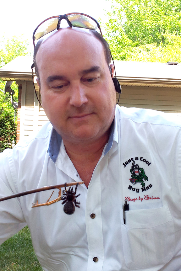 Bugs by Brian owner Brian Nauert with a spider